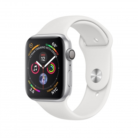 Apple Watch Series 4 GPS, 44mm Silver Aluminium Case with White Sport Band